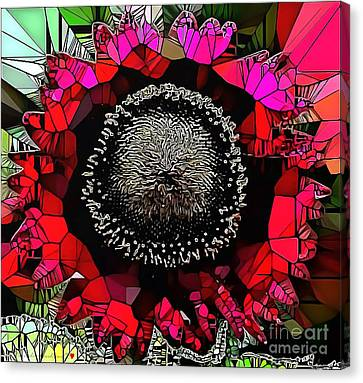 Abstract Floral Stained Glass Painting Canvas Print by Catherine Lott
