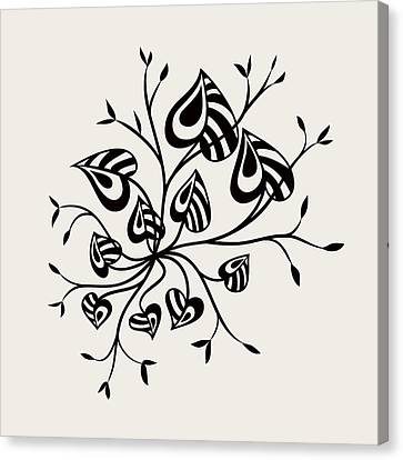 Abstract Floral With Pointy Leaves In Black And White Canvas Print