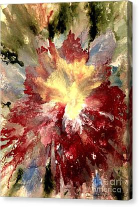 Canvas Print featuring the painting Abstract Flower by Denise Tomasura
