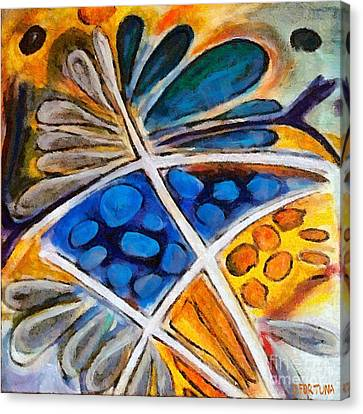 Canvas Print featuring the painting Abstract Flower by Dragica  Micki Fortuna