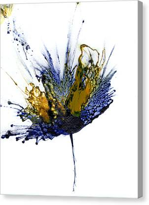 Abstract Flower Navy Blue Yellow 1 Canvas Print by Catherine Jeltes