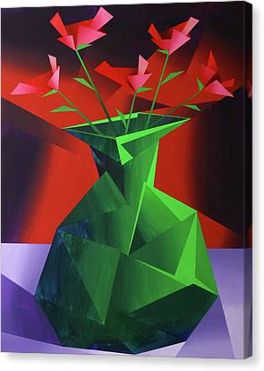 Abstract Flower Vase Prism Acrylic Painting Canvas Print