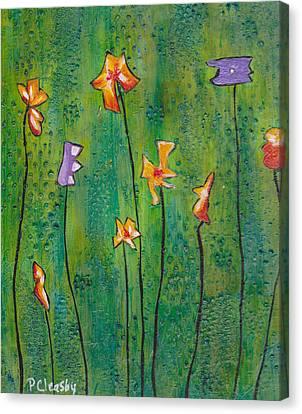 Abstract Flowers Orange, Purple Canvas Print
