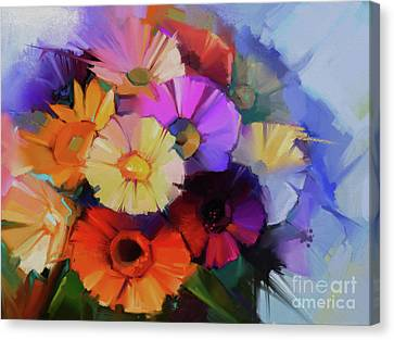 Abstract Flowers Painting 9903 Canvas Print by Gull G