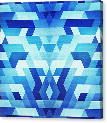 Abstract Geometric Triangle Pattern Futuristic Future Symmetry In Ice Blue Canvas Print