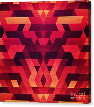 Abstract  Geometric Triangle Texture Pattern Design In Diabolic Future Red Canvas Print by Philipp Rietz
