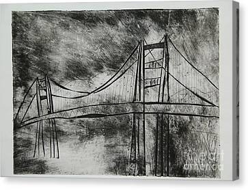 Abstract Golden Gate Bridge Black And White Dry Point Print Canvas Print