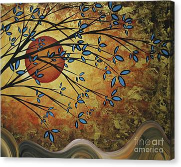 Abstract Golden Landscape Art Original Painting Peaceful Awakening I Diptych Set By Megan Duncanson Canvas Print