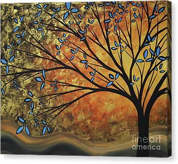 Abstract Golden Landscape Art Original Painting Peaceful Awakening II Diptych Set By Megan Duncanson Canvas Print