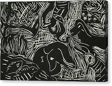 Abstract Greece Inspired Black And White Linoleum Print Cropped Canvas Print