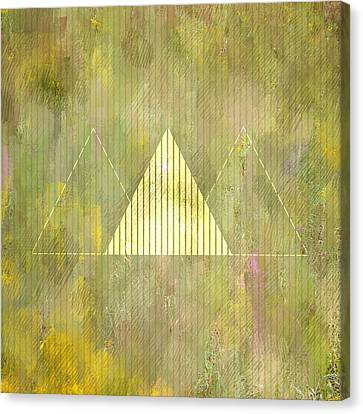 Abstract Green And Gold Triangles Canvas Print
