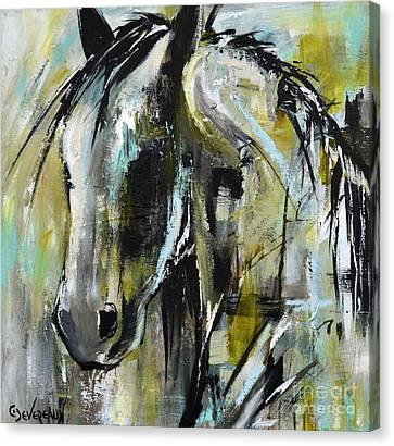 Canvas Print featuring the painting Abstract Green Horse by Cher Devereaux