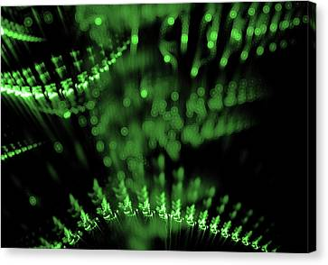 Abstract Green Lights In Dark Background Canvas Print
