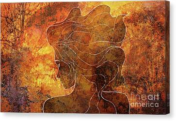 Wild Fire Path Of Courage - Chalk Drawing On Rust - Orange Yellow Mood Abstract Horizontal Wall Art Canvas Print