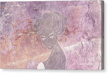 Sunset Wish - Horizontal Amethyst Purple Pink Mood Concrete Chalk Drawing Wall Art Canvas Print