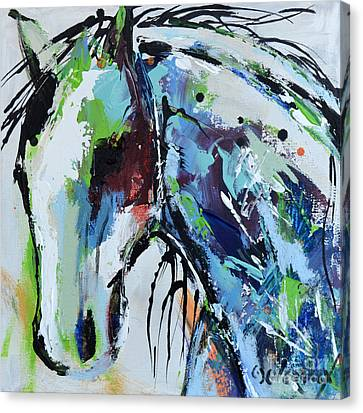 Canvas Print featuring the painting Abstract Horse 18 by Cher Devereaux