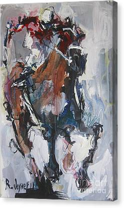 Abstract Horse Racing Painting Canvas Print by Robert Joyner