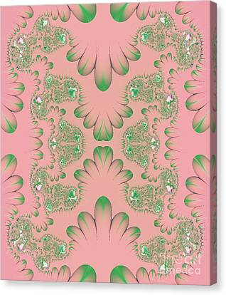 Canvas Print featuring the digital art Abstract In Pink And Green by Linda Phelps