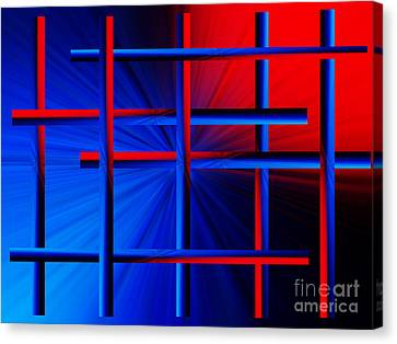 Abstract In Red/blue 3 Canvas Print