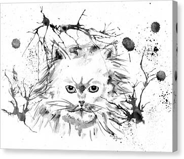 Abstract Ink - Black And White Persian Cat Canvas Print by Michelle Wrighton