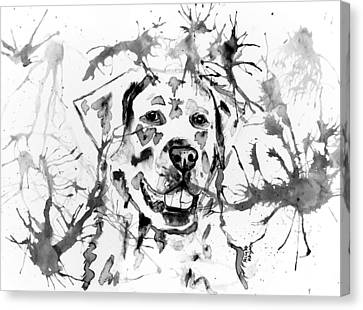 Abstract Ink - Golden Retriever In Black And White Canvas Print by Michelle Wrighton