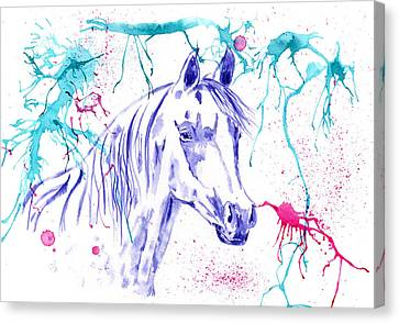 Michelle Canvas Print - Abstract Ink - Purple Arabian Horse by Michelle Wrighton