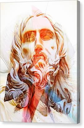 Canvas Print featuring the painting Abstract Jesus 2 by J- J- Espinoza