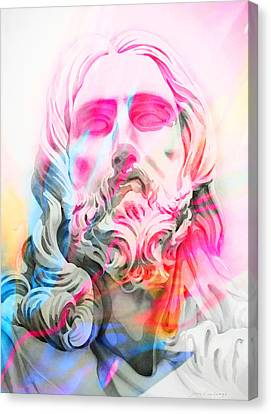 Canvas Print featuring the painting Abstract Jesus 4 by J- J- Espinoza