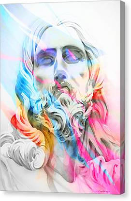 Canvas Print featuring the painting Abstract Jesus 5 by J- J- Espinoza
