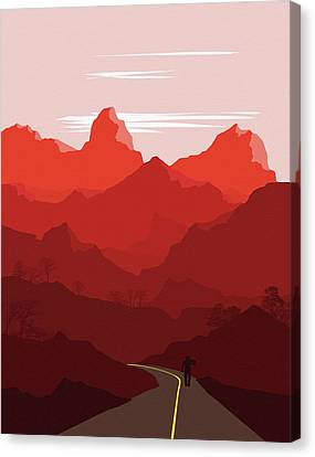 Abstract Landscape Mountain Road 2 - By Diana Van Canvas Print
