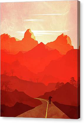 Abstract Landscape Mountain Road Art 5 - By Diana Van Canvas Print