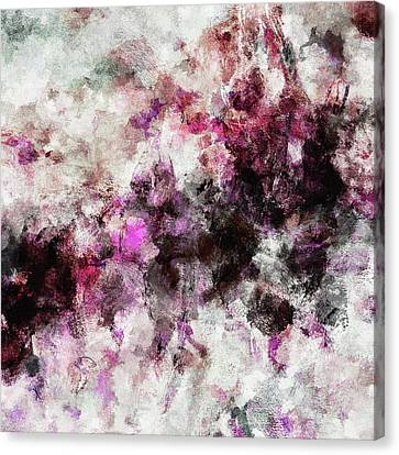 Canvas Print featuring the painting Abstract Landscape Painting In Purple And Pink Tones by Ayse Deniz