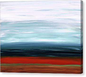 Canvas Print featuring the painting Abstract Landscape - Ruby Lake - Sharon Cummings by Sharon Cummings