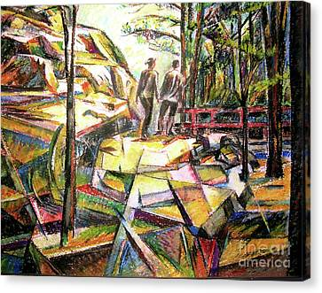 Abstract Landscape With People Canvas Print