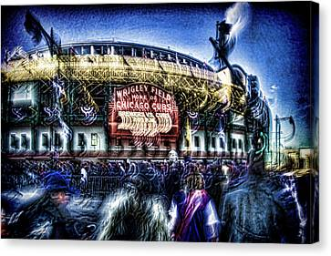 abstract look at the crowd filing in for a Cub's game Canvas Print