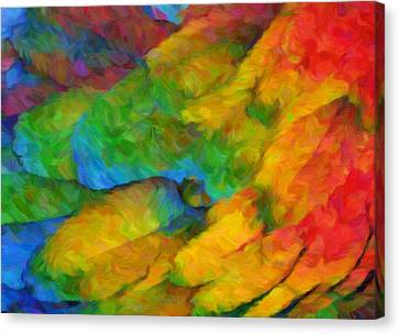 Vibrant Canvas Print - Abstract Macaw Feathers by Georgiana Romanovna