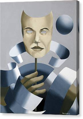 Abstract Mask Oil Painting Canvas Print by Mark Webster