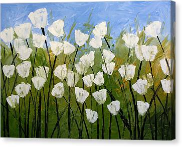 Abstract Modern Floral Art White Tulips By Amy Giacomelli Canvas Print by Amy Giacomelli