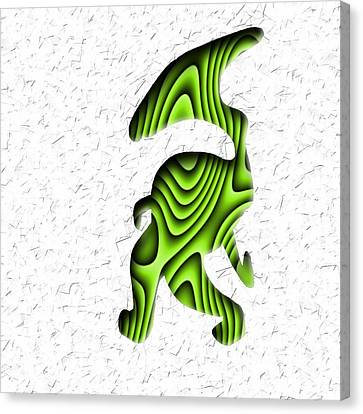 Abstract Monster Cut-out Series - Green Stroll Canvas Print by Uncle J's Monsters