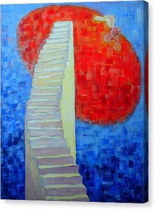 Canvas Print featuring the painting Abstract Moon by Ana Maria Edulescu
