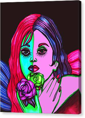 Abstract Neon Rose Fairy Canvas Print