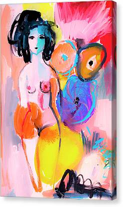 Abstract Nude With Flowers Canvas Print