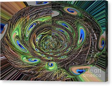 Abstract Of Peacock Feathers IIi Canvas Print by Jim Fitzpatrick