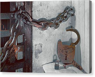 Canvas Print featuring the photograph Grunge Old Padlock by Robert G Kernodle