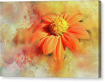 Abstract Orange Flower Canvas Print