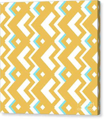 Abstract Orange, White And Cyan Pattern For Home Decoration Canvas Print by Pablo Franchi