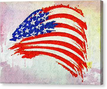 Abstract Painted American Flag Canvas Print by Stefano Senise