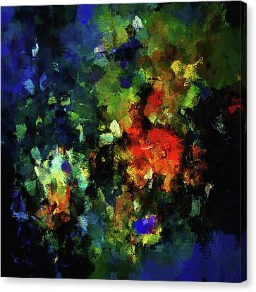 Canvas Print featuring the painting Abstract Painting In Dark Blue Tones by Ayse Deniz