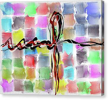 Abstract Patchwork Canvas Canvas Print by Michael Greenaway