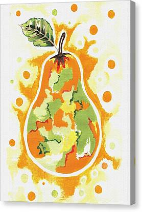 Canvas Print featuring the painting Abstract Pear by Kathleen Sartoris
